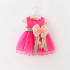 BeautyMaker Balita Bayi Gadis Musim Panas Pesta Pernikahan Princess Gaun Merah Muda Yang Mendalam 120 Cm-Intl