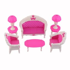 Befu 6Pcs Toys For Barbie Doll Sofa Chair Couch Desk Lamp Furniture Set Disassembled Pink & White - intl