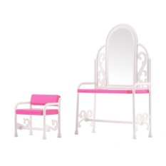 Befu Dressing Table & Chair Accessories Set For Barbies Dolls Bedroom Furniture Pink - intl