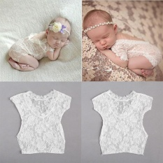 Bellamall: Aksesoris Bayi Dekorasi Fullmoon Bayi Bayi Perempuan Ikatan Simpul Renda Baju Pakaian Bodysuit Foto Alat Peraga-Internasional