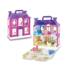 BELLE Doll House With Furniture Miniature House Dollhouse Assembling Toys For Kids Purple Standard Edition - intl