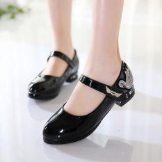 Batu Kristal Udara Hitam Hak Tinggi Anak Perempuan Sepatu Sekolah Gadis Sepatu Kulit