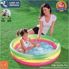 Berapa Harga Bestway Kolam Renang Anak Bayi Baby 102 X 25Cm Kolam Pelangi Summer Set Pool 51104 Di Banten