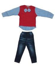 Jual Big Lil Kids Setelan Kaos Kemeja Celana Jeans Anak Laki Laki Merah Navy Branded Original