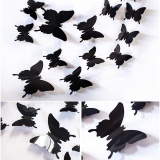 Jual Black 12Pcs 3D Butterfly Wall Stickers Refrigerator Home Decor Sticker On The Art Wall Decal Mural For Creative Vintage Home Appliances Kids Rooms Intl Tiongkok