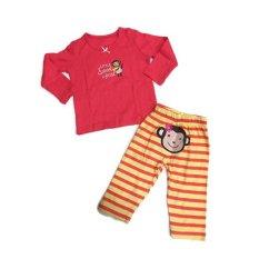 Toko Blessbabykids Monkey Set Baju Celana Pink Online