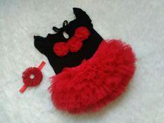 Diskon Bnc Setelan Baju Dan Rok Tutu Set 1 3Th Merah Hitam Set Dengan Bandana Branded