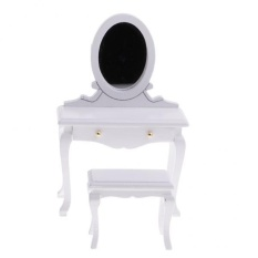 BolehDeals 1/12 Scale Dollhouse Bedroom Furniture Dressing Table and Stool Set White - intl