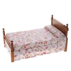 Bolehdeals 1:12 Skala Rumah Boneka Miniatur Bedroom Furniture Aksesori Bunga Tempat Tidur Tunggal-Internasional