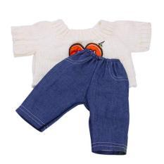 Bolehdeals Kasual Rajut Sweater dan Jeans Celana Outfit untuk 18 ''Amerika Perempuan Doll Krem-Internasional