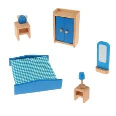 BolehDeals Dollhouse Miniature Wooden Furniture Decoration Blue Bedroom Set Kids Toys - intl
