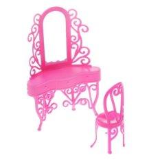 BolehDeals Mini Pink Dresser Set Bedroom Furniture Makeup Table & Chair for Barbie Doll - intl