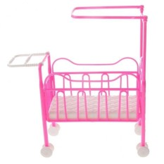 BolehDeals Mini Plastic Pink Cot Bed Dolls Bedroom Furniture for Barbie Kelly Dolls - intl