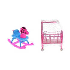 BolehDeals Pink Baby Cot Bed + Rocking Horse Bedroom Furniture for Barbie Kelly Dolls - intl