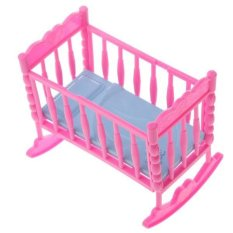 BolehDeals Pink Baby Rocking Bed Bedroom Furniture Accessory for Barbie Kelly Dolls - intl