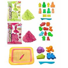 Harga Bonbon Set Magic Play Sand Glitter Diy 2 Kg Molds And Sand Tray With Pump Set Mainan Pasir Anak Glossy Yang Murah