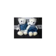 Boneka Teddy Bear Cauple Wedding Dress Pengantin Blue Import 25Cm
