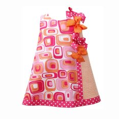 Jual Bonnie Jean Print Poplin With Ribbon Baju Bayi Perempuan Geometris Warna Merah Fuschia Grosir