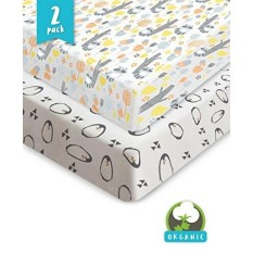 Bouncy Bayi Crib Sheets-Organik & Penghilang-Tahan, uniseks Fitted Lembar Katun untuk Standar Kasur Kasur Bayi-Tidak Ada Robekan atau Lubang dengan Penggunaan, dijamin-Hadiah Bayi Pancuran Yang Hebat-2 Pack-Internasional