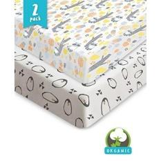 Bouncy Baby Crib Sheets-Organik & Shrink Tahan, Unisex Dilengkapi Seprai Katun untuk Standar Kasur Kasur Bayi-Tidak Ada Robekan atau Lubang dengan Penggunaan, Dijamin-Hadiah Baby Shower Yang Hebat-2 Pack-Intl