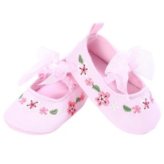 Beli Ikatan Simpul Bayi Gadis Sepatu Lembut Sole Anti Slip Prewalker Pink Intl Lengkap