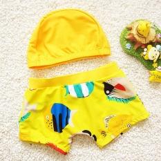Boys Beachwear Kartun Ikan Pattern One-piece Celana Renang dan Cap untuk Bayi Anak Swimwear Suit Kuning-Intl