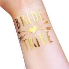 Bride & Groom Temporary Tattoo Metallic GOLD Huruf Transfer Tato untuk Dekorasi Pesta Pernikahan Foto Props Ukuran: t35-Intl