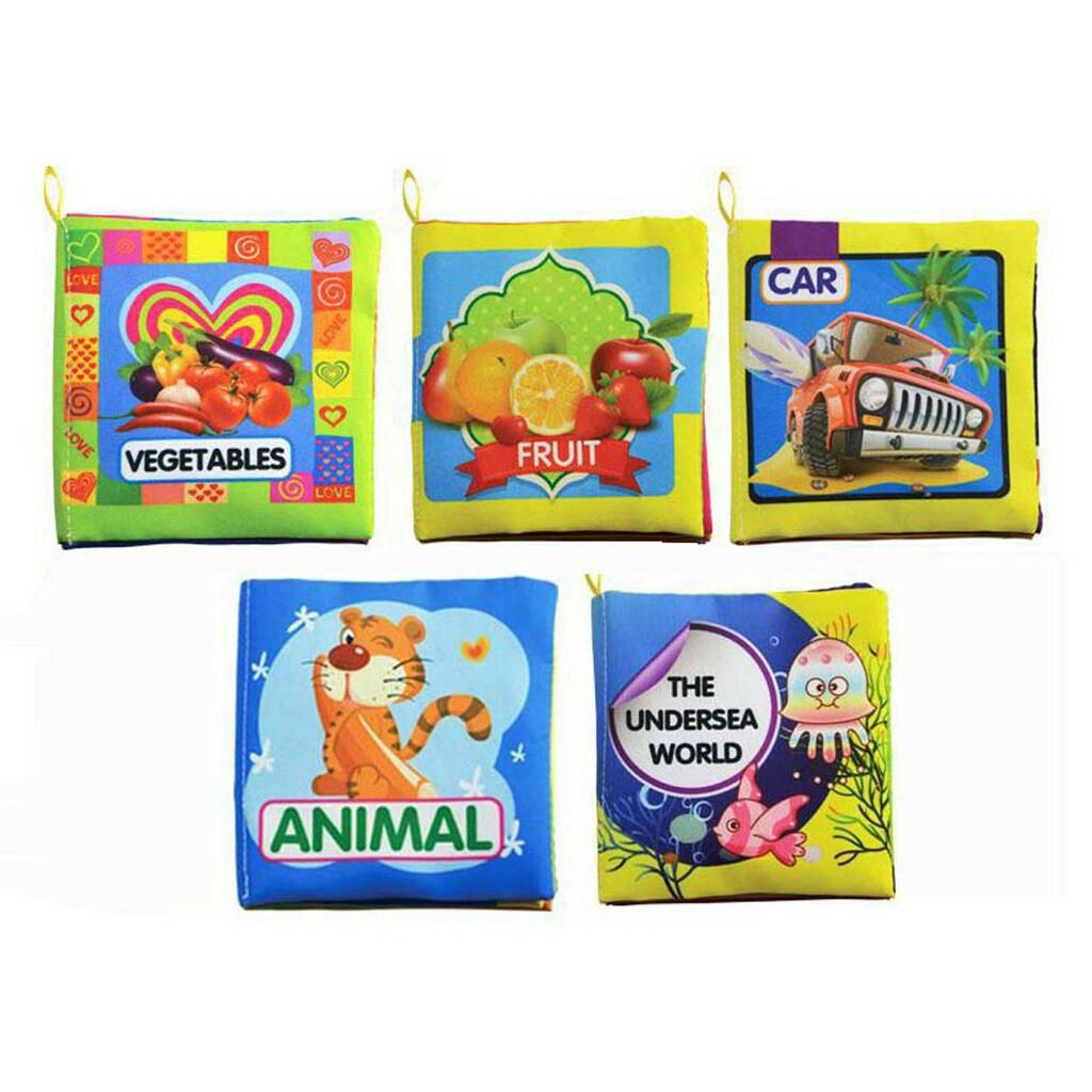 Buku kain edukasi mainan bayi 5 pcs toy book set