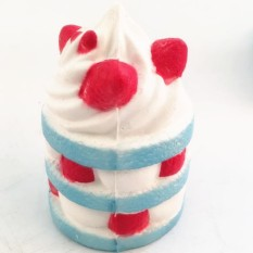 Cake Squeeze Stress Toys Strawberry Cake Cream Super Slow 10 second Rising 1 PCS Slow Rising Cream Scented Release Stress Toy Color:Blue Size:6*9cm - intl