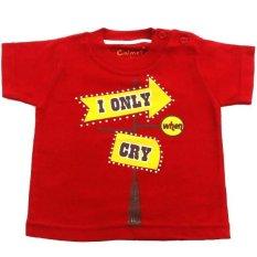 Jual Calmet Kaos Kreatif Pendek I Only Cry Merah Calmet Branded