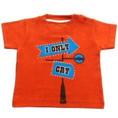 Beli Calmet Kaos Kreatif Pendek I Only Cry Oranye Lengkap
