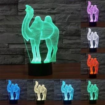 Gaya Unta Pengisian USB 7 Warna Perubahan Warna CreativeVisualStereo Lampu 3D Touch Switch Control LED Light Desk LampNightLight. Ukuran Produk: 26.3X13.6X8.7 Cm-Intl