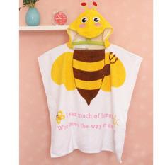 Kartun Bee Printed 100% Cotton Baby Jubah Mandi Berkerudung Handuk Mandi Bayi Mandi Robe untuk Anak-anak Baby Bathrobe Piyama Gaun Pantai Hadiah 60x120 Cm-Intl