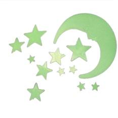 Cartoon Moon Star Noctilucent Glow In The Dark Plastic Wall Sticker Kid Decal - intl