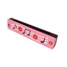Cetak Kartun 16 Lubang Harmonika Kayu Alat Musik Hadiah Mainan Mendidik untuk Kidscolor: Berwarna Merah Muda-Internasional