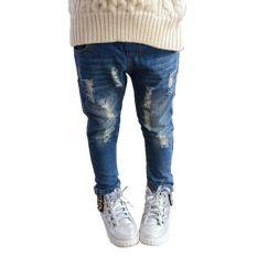 Denim Jeans Pensil Celana Cewek Robek Telah Dihancurkan (Biru)