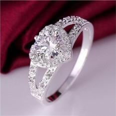 Pesona Wanita Perak Berlapis Kristal Cinta Hati Berbentuk Cincin Pengantin Pernikahan Perhiasan Perak Size6-Internasional