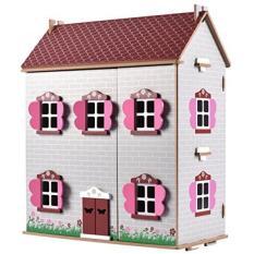 Menawan Kayu Rumah Boneka Incl. 22 Kayu Furniture Buah. dan Keluarga dari 4 Kayu Bendable Orang.-Internasional