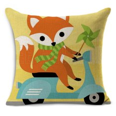 Mobil Murah Kursi Linen Cushion Nordic Vintage Karton Cute Fox Printoutdoor Bantal Kursi Dekorasi Rumah untuk Sofa Bantal MYJ-1615- INTL