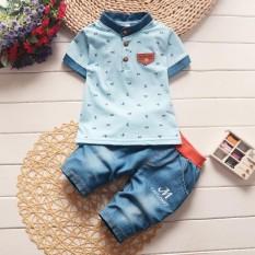 Anak Pakaian Pria Summer Baby Boy Pakaian Kasual Anak Sport Setelan Lengan Pendek T-Shirt + Celana Denim Girl Pakaian Set-Intl By Hh Official Store.