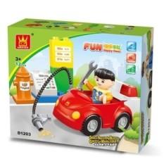 Anak DIY Mainan Plastik Bangunan Bata Mobil Kartun Gambar Toybricks untuk Anak Laki-laki dan Perempuan Acak Warna-Internasional