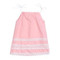 Anak Perempuan Berenda Bordir Gaun Putri Baju Pesta (90 Cm) (Pink)-Intl