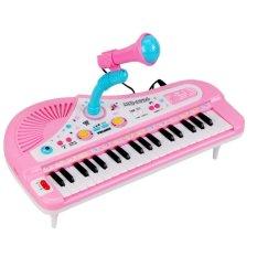 Anak-anak Anak-anak Multifungsi Mini 31 Kunci Simulasi Piano Mainan dengan Mikrofon Listrik Keyboard Electone Musik Mainan Hadiah (Biru) -Internasional