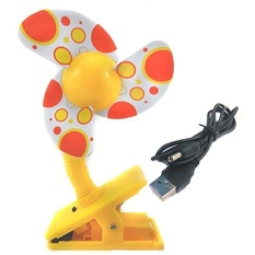 2018new BABY storeClip-on dengan USB Mini Stroller Fan untuk Tempat Tidur Bayi Playpens (Kuning)-Intl