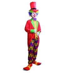 Clown Cosplay Kostum Halloween untuk Pria Dewasa Tie + Cap + Pant + Mantel Ukuran 165-185 Cm- INTL