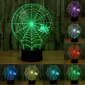 Gaya Cobweb Pengisian USB 7 Warna Perubahan Warna CreativeVisualStereo Lampu 3D Touch Switch Control LED Light Desk LampNightLight. Ukuran Produk: 21.4X17.1X8.7 Cm-Intl