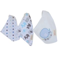 Cocotina 3pcs Cute Baby Cartoon Feeding Bibs Saliva Towel Bandana For Boy Girl Newborn Kids – Blue Elephant - intl