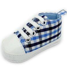 Cocotina Fashion Bayi Bayi Sepatu Kets Bayi Boy Girl Lembut Sole Crib Sepatu (Biru & Cek Hitam)-Intl
