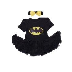 Cocotina Kirain Orok Bayi Perempuan Batman Cetak Baju Monyet Baju Senam Gaun + Hiasan Kepala Peraga Alat Foto Pakaian- Hitam