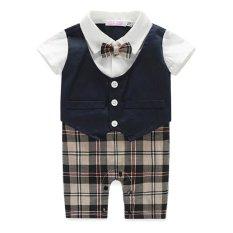 Toko Cocotina Satu Potong Anak Bayi Balita Pakaian Terusan Baju Terusan Tema Kotak Kotak Lengan Bang Pendek Bow Hitam Wait Yang Bisa Kredit